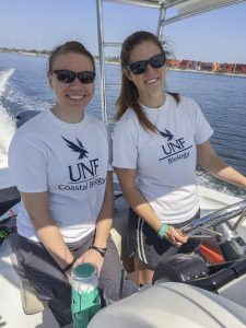 Students driving the boat